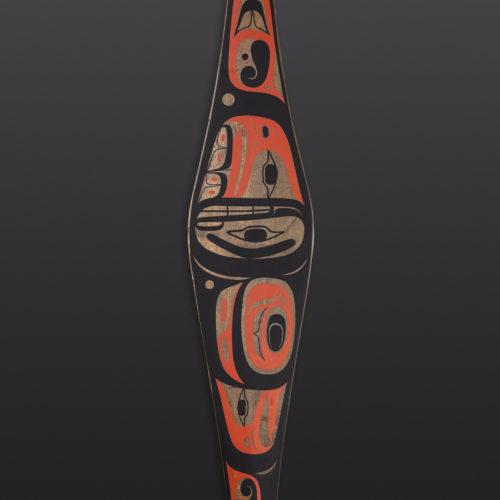 """Timeless Paddle Steve Smith Dla'kwagila Oweekeno Found cedar paddle, paint 60"""" x 7"""" x 1"""" Sold"""