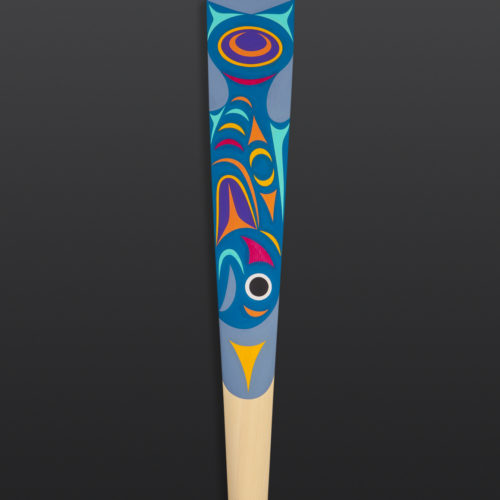 "Great Colorful Heron Maynard Johnny Jr. Coast Salish Yellow cedar, paint 63½"" x 7"" x 1½"" $2500"