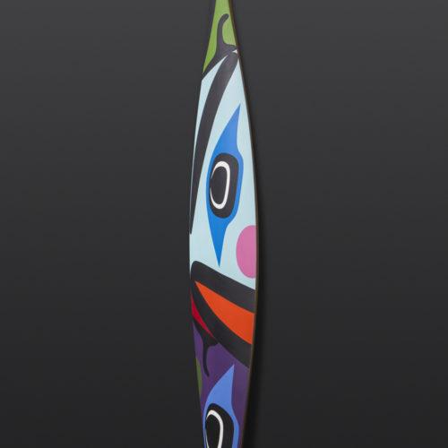 "Faces Paddle Steve Smith Dla'kwagila Oweekeno Yellow cedar, paint 64½"" x 7"" x 1"""