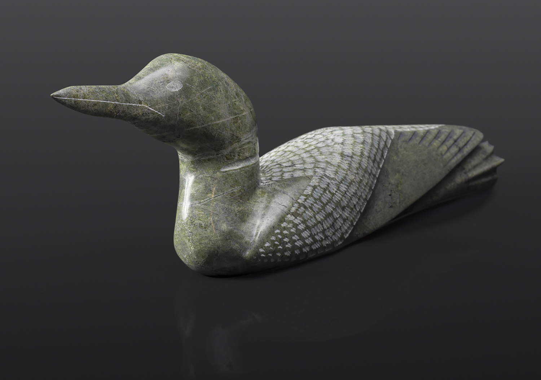 "Loon Etulu Etidloie Inuit Serpentine 15"" x 3"" x 5 ¼"" $1360 arctic bird arctic sculpture cape dorset"