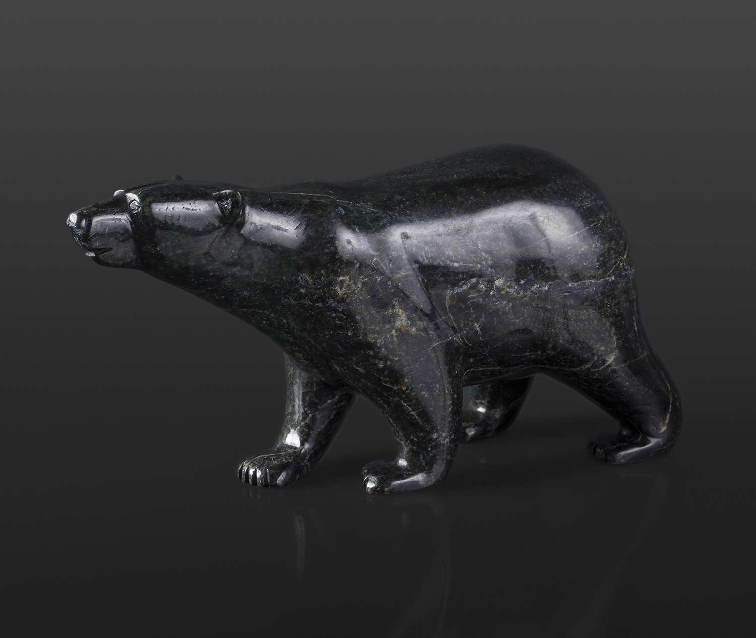 "Polar Bear Pauses (13758) Timothy Pii Inuit Serpentine 8½"" x 3¼"" x 4½"" $850 cape dorset arctic sculpture"