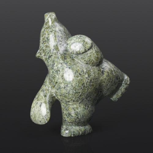 "Polar Bear Dance (13856) Markoosie Papigatuk Inuit Serpentine 7"" x 4"" x 8"" $750 chubby bear arctic sculpture cape dorset"