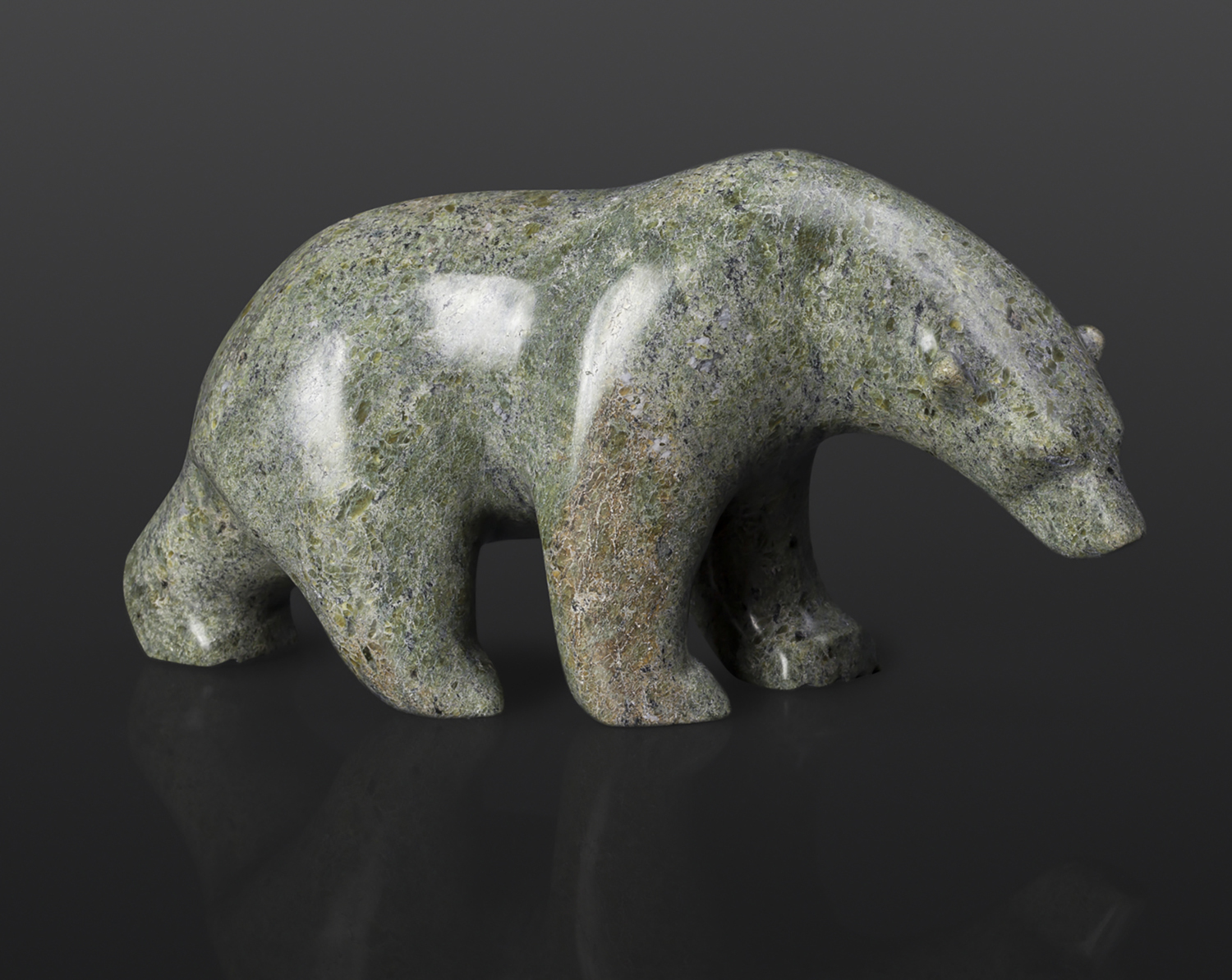 "Bear Follows the Trail (13966) Tony Ohotaq Inuit Serpentine 9"" x 3"" x 4"" $750 polar bear cape dorset arctic sculpture"