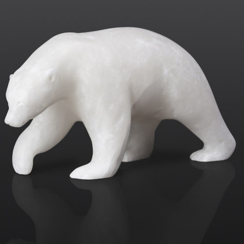 "Snow Bear Bill Nasogaluak Inuit Marble 10½"" x 3½"" x 5"" $1050 polar bear stone sculpture arctic marble cape dorset"