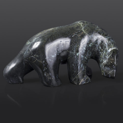 "Polar Bear (14093) x Tony Ohotaq Inuit Serpentine 9"" x 4"" x 5"" $895 arctic sculpture cape dorset stone sculpture"