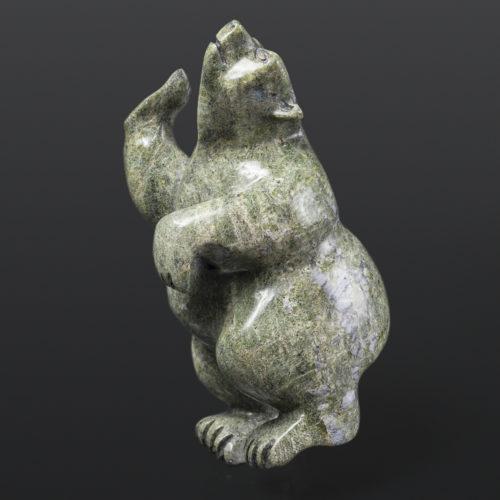 "Polar Bear Dancer Moe Pootoogook Inuit Serpentine 5½"" x 3½"" x 7½"" $480 polar bear cape dorset arctic art stone sculpture"