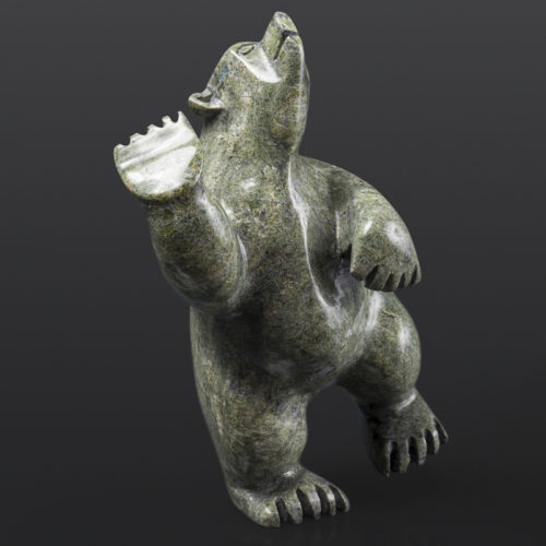"Polar Bear Dancer Moe Pootoogook Inuit Serpentine 5½"" x 3½"" x 7½"" $480 polar bear cape dorset arctic art stone sculpture"