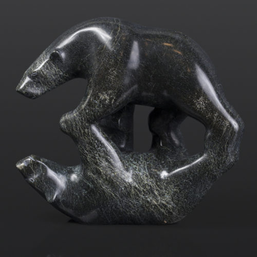 "Mirror Bears Tony Ohotaq Inuit Serpentine 8"" x 3¼"" x 7"" $1280 polar bears arctic art cape dorset"