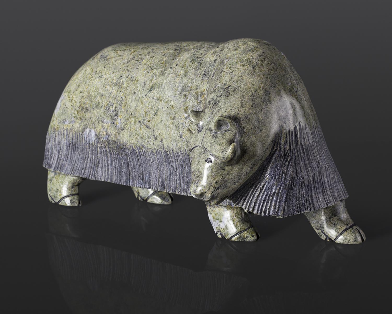 "Musk Ox Noah Jaw Inuit Serpentine 13"" x 6"" x 7"" $2400 arctic sculpture stone cape dorset"