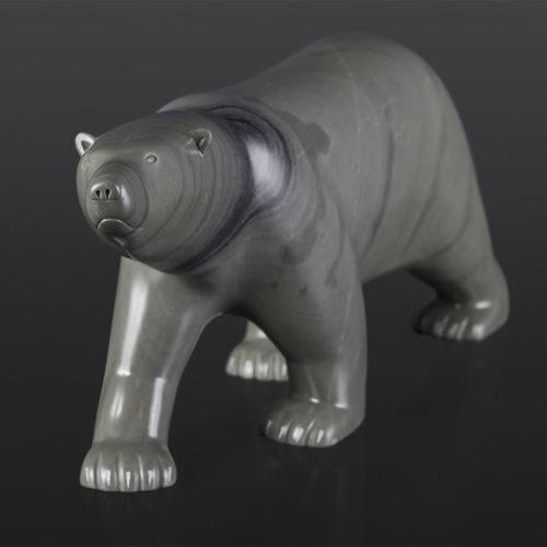"Bear Pauses Johnassie Ippak Inuit Argillite (Belcher Island) 14"" x 3"" x 5½"" $1200 polar bear arctic sculpture cape dorset"