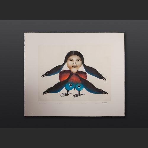 "Timmiaruqsimauq Bird Woman Transformation Kenojuak Ashevak Etching & Aquatint 29"" x 34"" $2800"