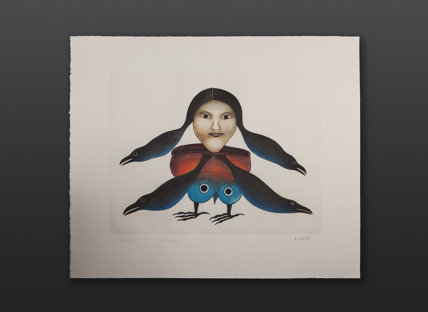 "Timmiaruqsimauq Bird Woman Transformation Kenojuak Ashevak Etching & Aquatint 29"" x 34"" $2800"
