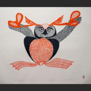 "Uppiruqpalliajuk (Transforming to an Owl) Mayoreak Ashoona Inuit Cape Dorset Stonecut c. 1998 #13/50 30""W x 24.25""H mayoreak ashoona inuit nunavut cape dorset canada canadian arctic stonecut print 1998 transforming to an owl uppiruqpalliajuk"