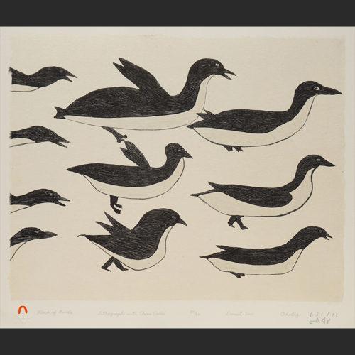 "Flock of Birds Ohotaq Mikkigak Inuit Cape Dorset Lithograph & Chine Colle c. 2001 #24/50 18""W x 15""H ohotaq mikkigak print lithograph chine colle inuit cape dorset"