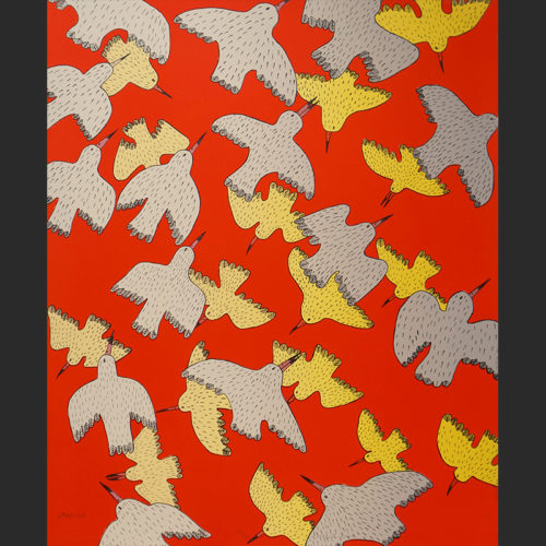 "Flight Pattern Ningeokuluk Teevee Inuit Cape Dorset Lithograph c. 2006 #39/50 18""W x 22.25""H flight pattern birds raven bird flock migration inuit cape dorset nunavut canada canadian ningeokuluk teevee lithograph 2006"