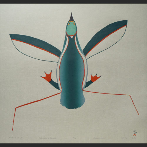 "Hesitant Bird Ohotaq Mikkiqak Inuit Cape Dorset Stonecut & Stencil c. 2002 #36/50 24.75""W x 22""H hesitant bird ohotaq mikkiqak print cape dorset inuit nunavut 2002"