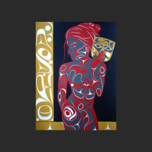 "A Spirit Within Original Painting Rande Cook Kwakwaka'wakw acrylic paint on paper 30""H x 22""W northwest coast artist"
