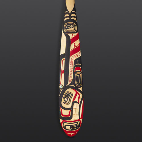 "Killer Whale Paddle Evan Aster Tsimshian Yellow cedar, paint, abalone 57½"" x 5½"" x 1½"""