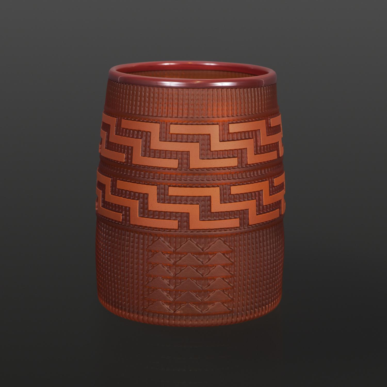 "Tangerine Basket Preston Singletary Tlingit Blown & sand-carved glass 6"" x 4½"""" $3000"