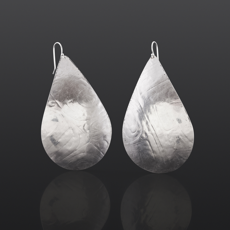 "Abstract Teardrops Gwaii Edenshaw Haida Silver, 2¼"" x 1¼"" $135"