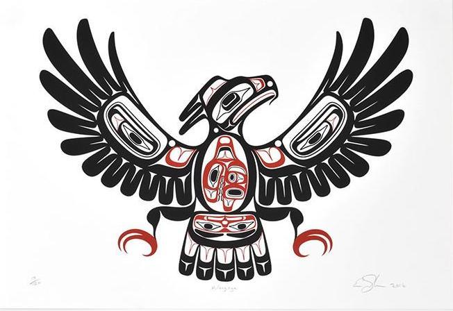 """Hiilang'nga Ernest Swanson Haida Serigraph 22"""" x 15"""" $175"""