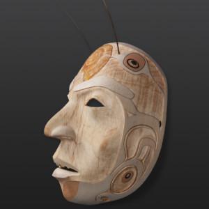 Prince Snail Shawn Aster Tsimshian Yellow cedar, paint, sea lion whiskers $5500