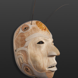 Prince Snail Shawn Aster Tsimshian Yellow cedar, paint, sea lion whiskers