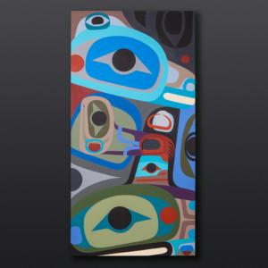 """Family Strength Steve Smith Dla'kwagilaOweekeno Birch panel, paint30"""" x 8"""" x 5"""" $3400"""