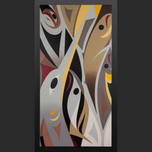"musqueam foreshore Susan Point Coast Salish Acrylic on canvas 48"" x 24"" original painting"
