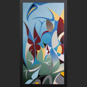 "symphony of butterflies Susan Point Coast Salish Acrylic on canvas 48"" x 24"" original painting"