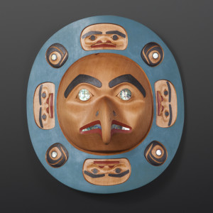 "Eagle Moon Phil Gray Tsimshian Red cedar, abalone, moon 16"" x 15"" x 6"" $65oo"