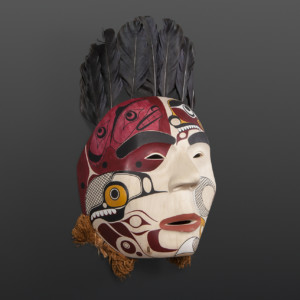 "Fox and Rabbit Shawn Aster Tsimshian Alder, paint, feathers, cedar bark 8½"" x 8"" x 5½"" 13½"" with feathers"