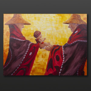 """So Happy to Meet You Jean Taylor Tlingit Original painting – acrylic on canvas 30"""" x 40"""" $3000"""