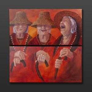 "Good Times Jean Taylor Tlingit Original painting – acrylic on canvas 24"" x 24"" $1440"