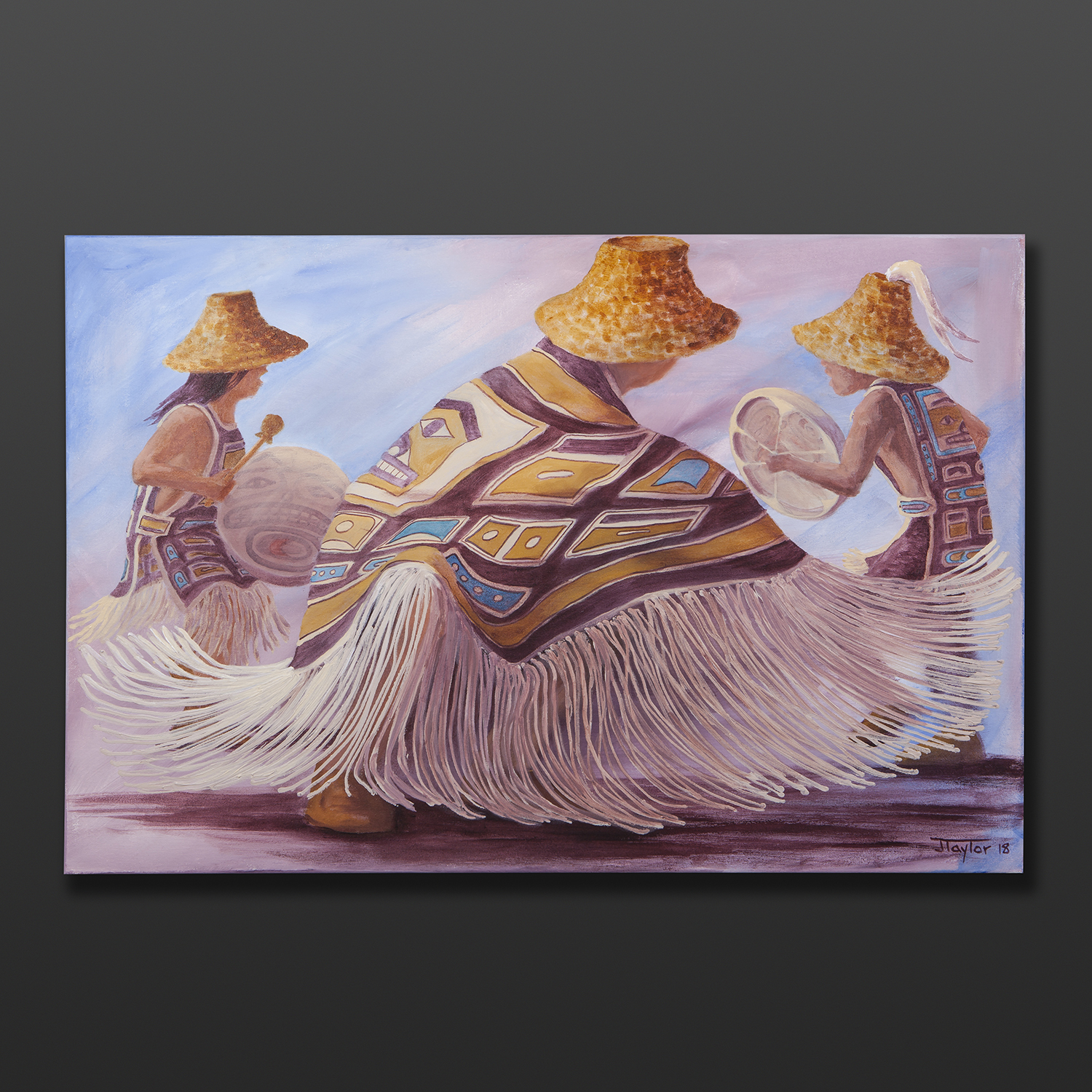"""The Young Dance Jean Taylor Tlingit Original painting – acrylic on canvas 24"""" x 36"""" $2160"""