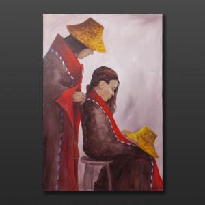 "Mom Jean Taylor Tlingit Original painting – acrylic on canvas 24"" x 36"" $2160"
