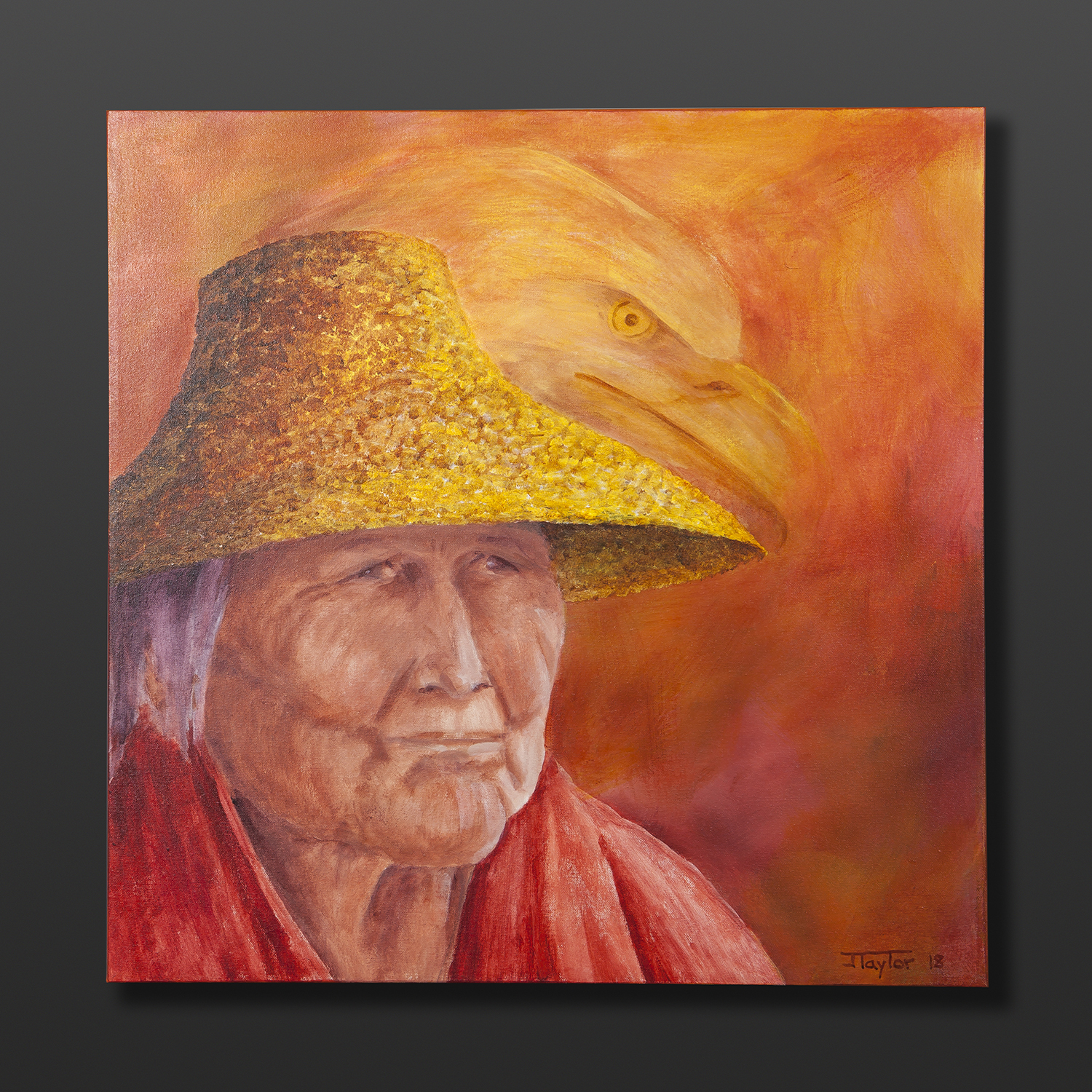 """Wise Ones Jean Taylor Tlingit Original painting – acrylic on canvas 24"""" x 24"""" $1440"""
