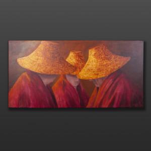 "Old Men Talk Jean Taylor Tlingit Original painting – acrylic on canvas 24"" x 48"" $2880"