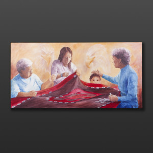 """A Gesture of Love Jean Taylor Tlingit Original painting – acrylic on canvas 24"""" x 48"""" $2880"""