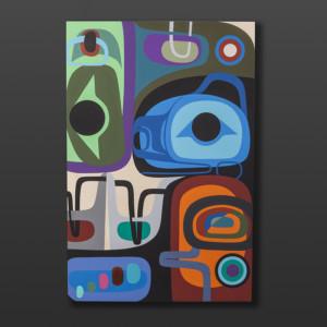 """Changes Come Steve Smith Dla'kwagila Oweekeno Acrylic on birch panel 24""""x 36"""" 3500"""