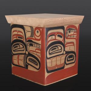 "Trade Box David Boxley Tsimshian Red cedar, paint 17"" x 14 1/2"" x 15 1/4"" $4500 bentwood box cedar art"