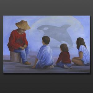 "A Story of Ke'et Jean Taylor Tlingit Original painting – acrylic on canvas 24"" x 36"" $2160"