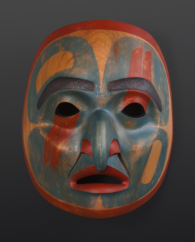 "from the sky Phil Gray Tsimshian Red cedar, paint 14"" x 17"" x 10"""
