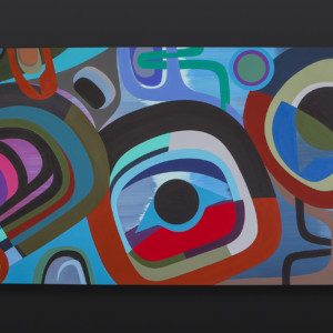 "Much Love Steve Smith Dla'kwagila Oweekeno Acrylic on birch panel 24"" x 48"" $5000 northwest coast native art contemporary art"