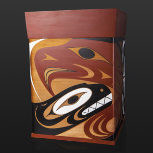 "Thunderbird and Orca Bentwood Box Luke Marston Coast Salish Red cedar, paint 22¼"" x 15¼"" x 15¼"" $12000"