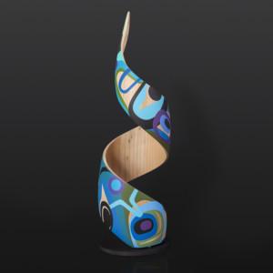"""From the Sea Steve Smith - Dla'kwagila Oweekeno Maple, paint, steel base 20"""" x 6"""" $3800"""