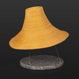 "Spruce Root Hat circa 1993 Isabel Rorick Haida Spruce root, granite base 16"" x 9"" $14000"