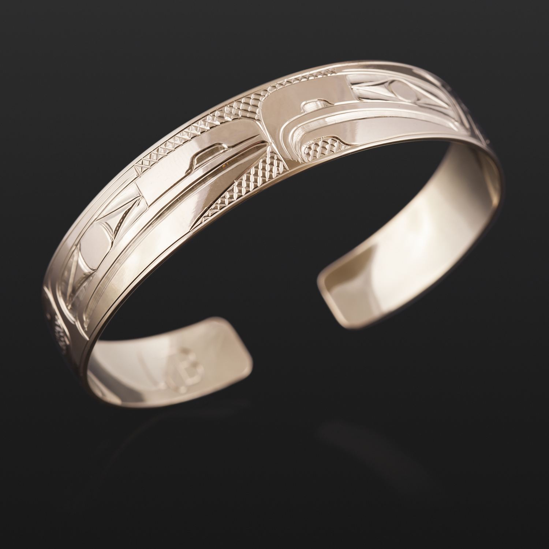 "Lovebirds Gold Bracelet Bill Bedard Haida 1/2"", 14k gold $2500"