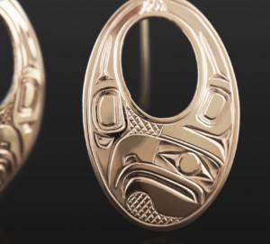Oval Eagle Earrings Bill Bedard Haida 14k gold $1100