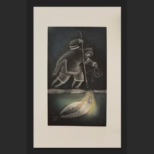 """CYCLE OF LIFE Germaine Arnaktauyok Inuit 48/75 32"""" x 19"""" $1000"""